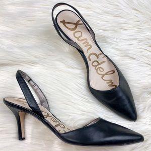 Sam Edelman Orly Black Leather Slingback Heels